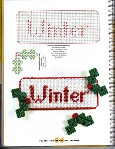 Plastic Canvas For All Seasons - seasonal a Welcome Sign - Winter