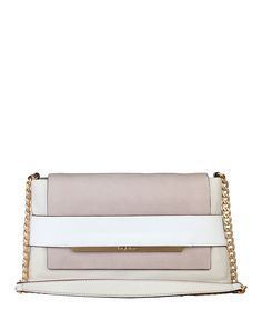 Shoulder bag of 100% leather, double handle, applied logo - lined interior -  pocket fastening. - inside: 1 compartment, - Crossbody bag women White
