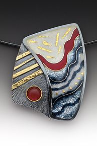 Oxidized Red and Gray Pendant by Anna Tai (Enameled Necklace)