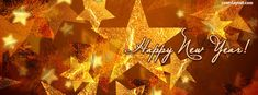 Happy New Year Gold Stars Facebook Cover CoverLayout.com