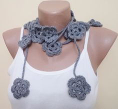 Does anyone else seebwhat is wrong with this picture? HAHA!!   ...Wool Lariat Handmade scarf with flowers Spring by BloomedFlower, $21.00