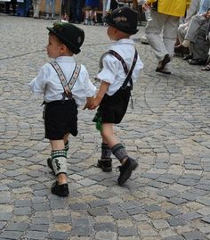 Oktoberfest - Munich. Little boys dressed in their lederhosens.