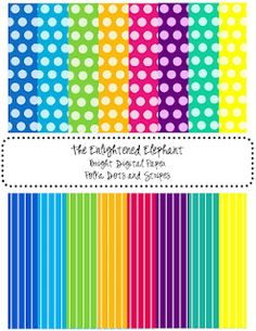 Digital Papers Bright Polka Dots and Stripes - The Enlightened Elephant Digital Scrapbooking, Digital Papers, Papel Scrapbook, School Organization, Printable Paper, Cool Fonts, Free Paper, Paper Background, In Kindergarten