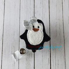 Penguin Feltie Retractable Badge Reel Felt Badge by JewelryByAmyT