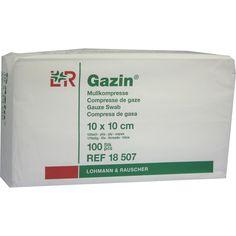 GAZIN Mullkomp.10x10 cm unsteril 12fach Op:   Packungsinhalt: 100 St Kompressen PZN: 03959424 Hersteller: Lohmann & Rauscher GmbH & Co.KG…