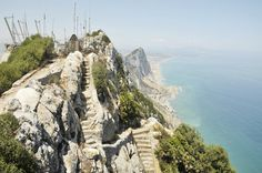 Mediterranean Steps (stairs Mediterranean), Gibraltar The trail about 1.5 km long guarantees fantastic views on Europe and Africa while wandering among the maquis and limestone cliffs, with the chance to see peregrine falcons and other birds, to look into the caves and battery department O'Hara of World War II.
