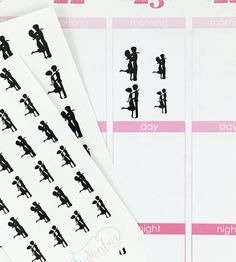 24 Silhouette Couple Stickers – Perfect for Erin Condren, Plum Paper Planner, Inkwell Press, Filofax, Scrapbooking & More
