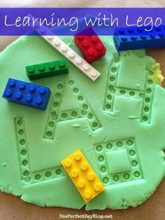 learning games - exploring Lego and play dough. This is a great activity for sensory play, imaginative play, letter recognition and sight words. This would be great to use in an autism classroom while learning long vowel sounds with silent E. Toddler Learning, Preschool Learning, Preschool Crafts, Learning Letters, Preschool Sign In Ideas, Autism Preschool, Learning Games For Preschoolers, Autism Learning, Preschool Games