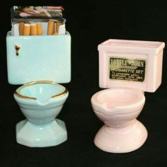 This is the kind of thing my parents would have thought was the funniest thing EVER: Vintage Ashtrays His and Hers Set Little John A Cigarette Blue Pink Decor