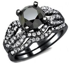 2.50ct Black Round Diamond Engagement Ring Bridal Set 14k Black Gold