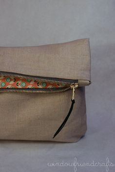 Vanilla Linen Foldover Clutch with Exposed by WindowFriendCrafts, $26.00