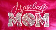 Baseball Mom T-Shirt - Bling Sparkle Baseball Applique - Personalized Embroidered - Custom Team Shirt on Etsy, $30.00