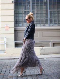 edgy jacket & feminine skirt #fashion #style #woman