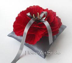 Wedding Ring Pillow Grey Ring Pillow Wedding by Flowerartstudio