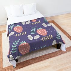 'Pretty Strawberry Fruit Garden' Comforter by xpressio - Modern Strawberry Garden, Strawberry Fruit, Fruit Garden, Garden S, Strawberries, Purple Wall Art, Orange Wall Art, Purple Walls, Purple Home Decor
