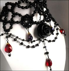 Black Rose Gothic Victorian Choker Red Crystal Tear Drop Bead ...