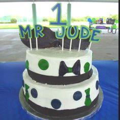 Jude's 1st birthday cake. Little Man party. #mustache #tie #bowtie