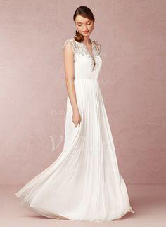 Abiti per matrimonio - $159.36 - A-Line/Principessa Scollatura a V A terra Chiffona Tyll Abito per matrimonio con Increspature Perline (0025057951)