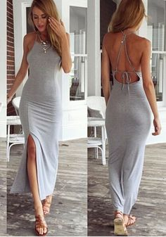Grey Plain Cross Back Tie Back Backless Side Slits Floor Length Maxi Dress