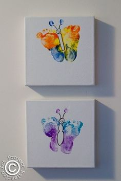 butterfly feet --doing this with all three girls for spring...hallway display ;-)