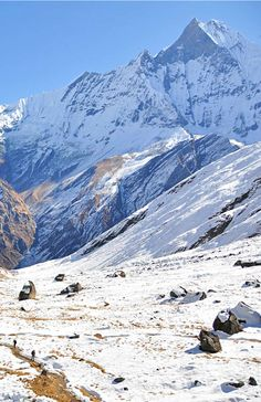 Annapurna Base Camp, a highlight of the Annapurna Sanctuary Trek through the Himalayas. Places Around The World, Around The Worlds, Nepal Trekking, Mountain Landscape, Adventure Is Out There, Plein Air, Countries Of The World, The Great Outdoors, Wonders Of The World