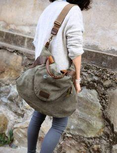 Large Capacity Shoulder Bag Leather Canvas Bag (4)