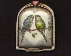 Parakeet pair bird scrimshaw technique resin pin