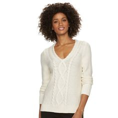 Women's Chaps Cable-Knit V-Neck Sweater, Size:
