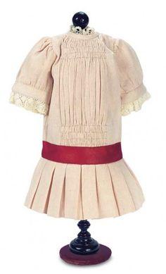 Classic Drop Waist Dress In Cream Twill