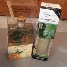 Yankee Candle Reed Diffuser Yankee Candle Reed diffuser and mainstays reed diffuser. Insert the reed sticks into the fragrance bottle and the reeds will diffuse the scent into the room. Great for bathrooms. Two for the price of one. They make a great gift too! Other