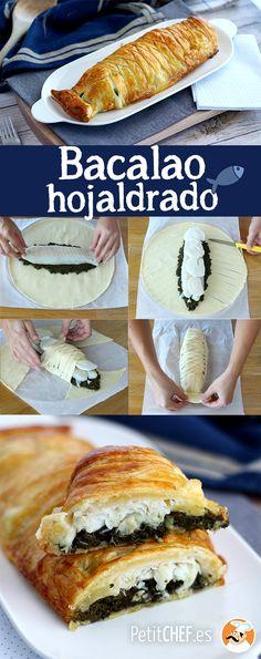 Hojaldre relleno de pescado y además con forma de pescado! Combínalo con espinacas y mozzarella. #bacalao #hojaldre