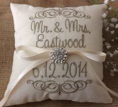 Personalized custom 10 x 10 Ring Bearer Pillow in linen like fabric with you choice of headings. Choose from ivory or white fabric with you
