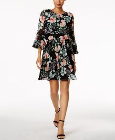 VINCE CAMUTO Vince Camuto Floral-Print Bell-Sleeve Dress. #vincecamuto #cloth #