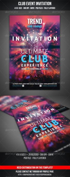 Club Event Invitation — Photoshop PSD #invitation #disco • Available here → https://graphicriver.net/item/club-event-invitation/4599985?ref=pxcr