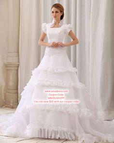 E Elegant Solid Ruffle Lacework Applique Beading A-Line Square Neck Back  Zipper Court Train Satin   Gauze   Lace Wedding Dress a8278422323d
