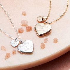 Personalised Heart Locket Necklace With Mini Charm. Keep your loved ones with you at all times with this precious locket. #Locket #Love