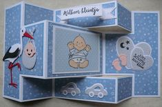 Baby Boy Cards Handmade, New Baby Cards, Tri Fold Cards, Folded Cards, Trifold Shutter Cards, Side Step Card, Baby Shower Souvenirs, Baby Shower Cupcake Toppers, Baby Boy Scrapbook