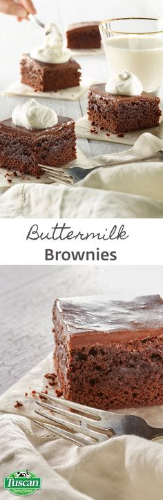 Rich, fudgy brownies to satisfy chocolate cravings big and small. Buttermilk makes this favorite super moist and extra special. Top with whipped cream or chocolate buttermilk frosting for an extraordinary everyday dessert.