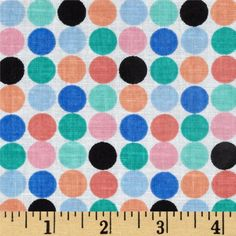 Newcastle+Novelties+Niki+Dots+Multi from @fabricdotcom  Designed+for+Newcastle+Fabrics,+this+cotton+print+is+perfect+for+quilting,+apparel+and+home+decor+accents.+Colors+include+pink,+orange,+aqua,+blue,+black+and+white.