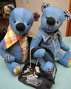 Ursinho feito com jeans reciclado ~ Artesanato Reciclado