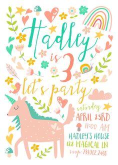 Unicorn Birthday Party Invitations 3rd Bday by INVITEDbyAudriana