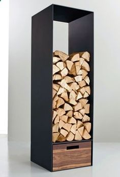Firewood decor look and feel, but 1/3 in cube sizes. Love the contrast of the firewood ends against the black wood/organizer.