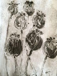 Jo Hannah. Seed 6. Poppy Heads. Monotype. Acrylic.