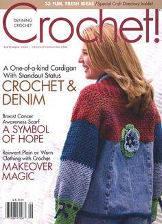 Magazine, September 2008 I love this! Crochet and denim cardigan! Crochet Cross, Crochet Round, Crochet Chart, Knit Crochet, Crochet Patterns, Ravelry Crochet, Knitting Magazine, Crochet Magazine, Shibori