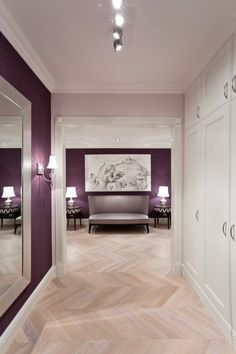 Cool with Classic Furniture for Your Modern Apartment: Purple And Violet Interior With Gray Sofa