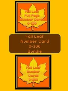 Here is the fall leaf number cards in a bundle. The bundle includes both the Fall Leaf Full Page Number Cards 0-100 and Fall Yellow Leaf Number Cards 0-100 (small cards). They can be used to display in the classroom, for whole group number recognition practice, centers, number recognition, number order, and much more.