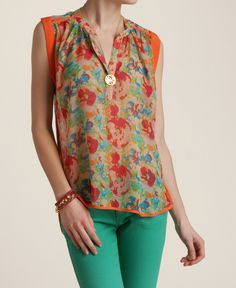Collective Concepts Floral Sheer Tunic
