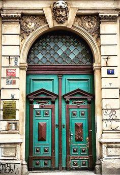 Prague, Czech Republic Door Entryway, Entrance Doors, Doorway, Cool Doors, Unique Doors, Door Knockers, Door Knobs, Doors Galore, Purple Door