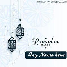 Ramadan Kareem 2021 card with name pic Edit Ramadan Wishes, Eid Mubarak Wishes, Happy Eid Mubarak, Ramadan Mubarak, Greeting Card Maker, Online Greeting Cards, Eid Greetings Quotes, Eid Moon, Islamic Celebrations