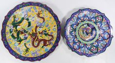 Lot 549: Asian Cloisonne Chargers; Two large chargers with undulating rims, stylized flowers, dragons, butterfly and bird motifs